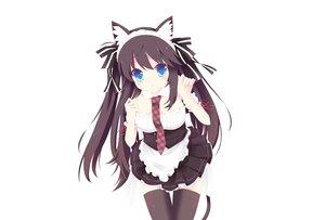 Rating: Safe Score: 50 Tags: animal_ears black_hair blue_eyes catgirl collar headband long_hair maid original photoshop tagme_(artist) tail thighhighs tie white User: luckyluna