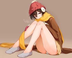 Rating: Safe Score: 55 Tags: brown brown_hair earmuffs hat maeshimashi original panties scarf short_hair skirt socks underwear yellow_eyes User: BattlequeenYume