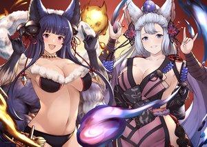 Rating: Safe Score: 66 Tags: 2girls animal_ears bell bikini blue_eyes blue_hair bow breasts choker cleavage elbow_gloves fang fire foxgirl gloves granblue_fantasy gray_hair haido_(ryuuno_kanzume) japanese_clothes long_hair magic purple_eyes socie_(granblue_fantasy) swimsuit tail yuel_(granblue_fantasy) User: otaku_emmy