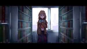 Rating: Safe Score: 80 Tags: aqua_eyes book brown_hair glasses long_hair original seifuku skirt taiyaki_(artist) User: RyuZU